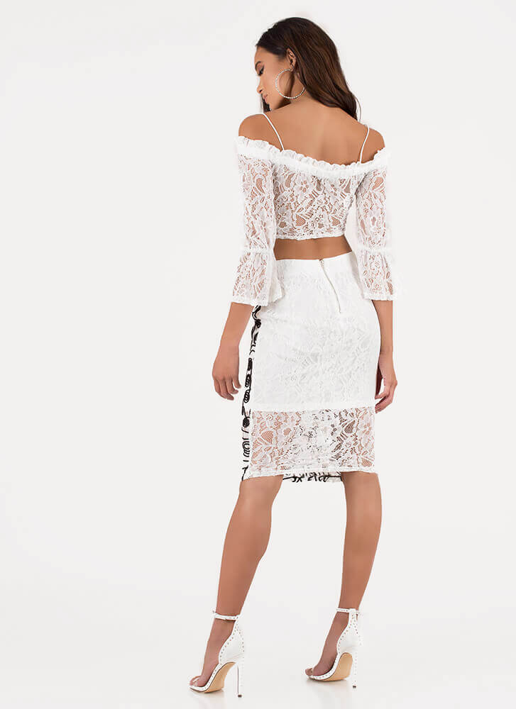 Lace Get Creative Top And Skirt Set WHITE