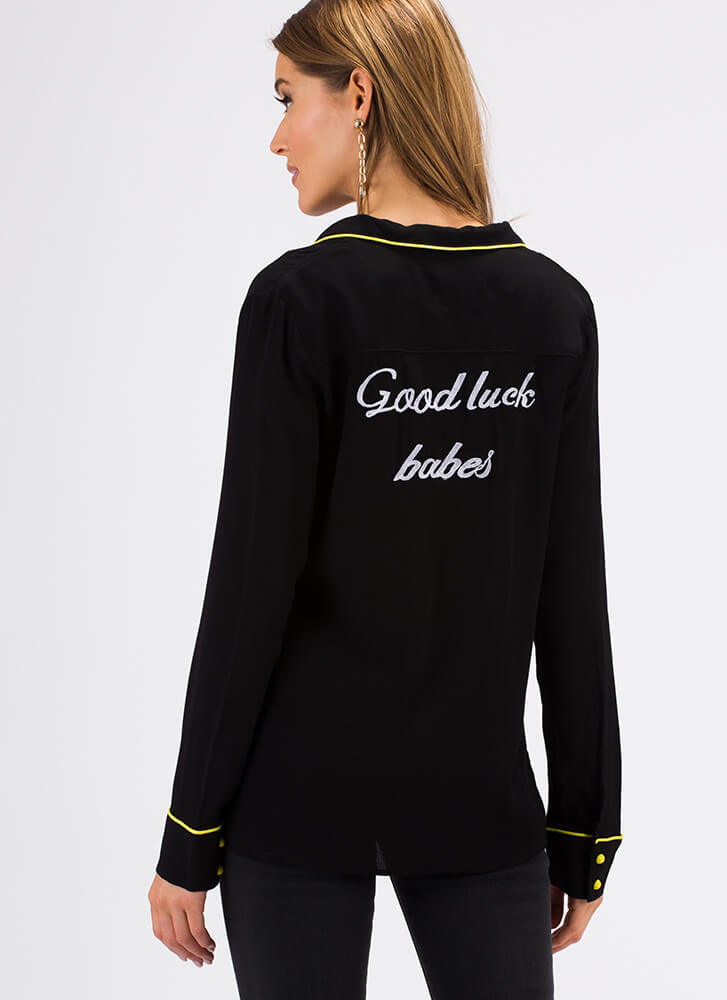 Good Luck Babes Embroidered Blouse BLACK