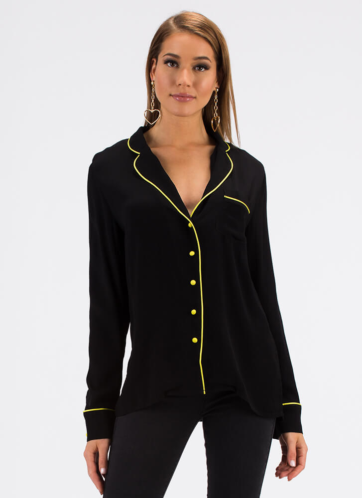 Good Luck Babes Embroidered Blouse BLACK (You Saved $36)
