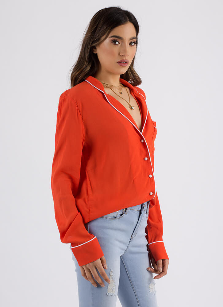 Good Luck Babes Embroidered Blouse REDORANGE