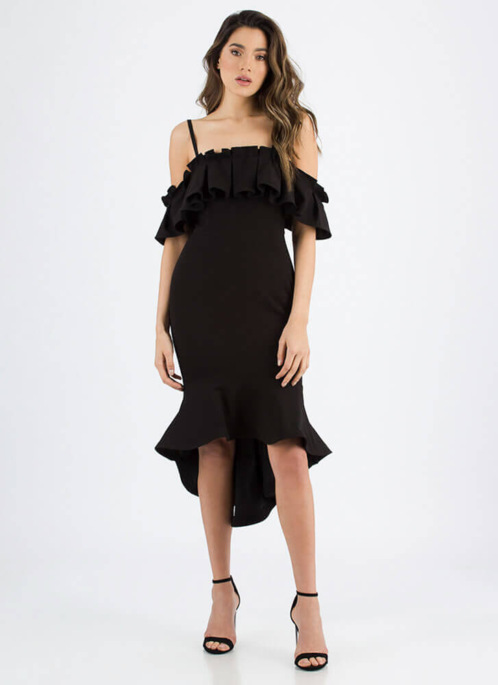 Say Pleats Ruffled Cold-Shoulder Dress BLACK