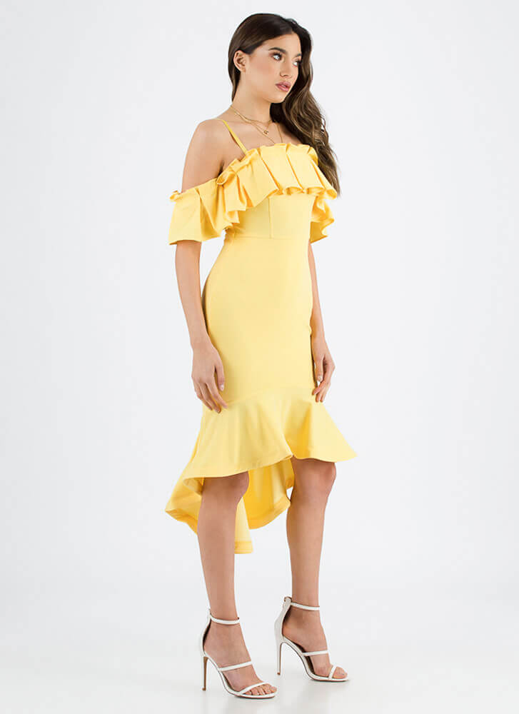 Say Pleats Ruffled Cold-Shoulder Dress YELLOW