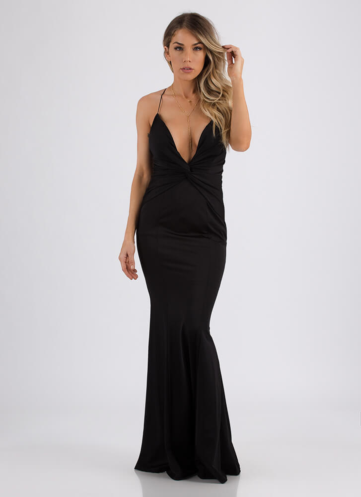 Ready Set Glam Plunging Knotted Gown BLACK