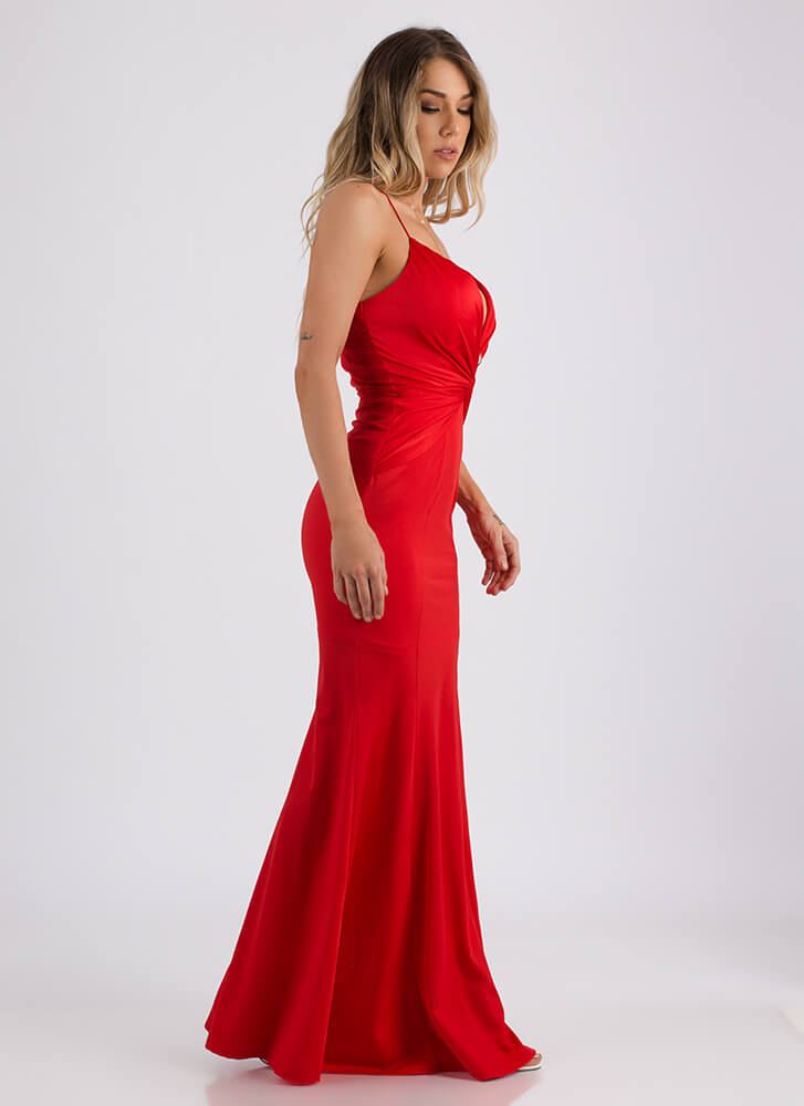 Ready Set Glam Plunging Knotted Gown RED