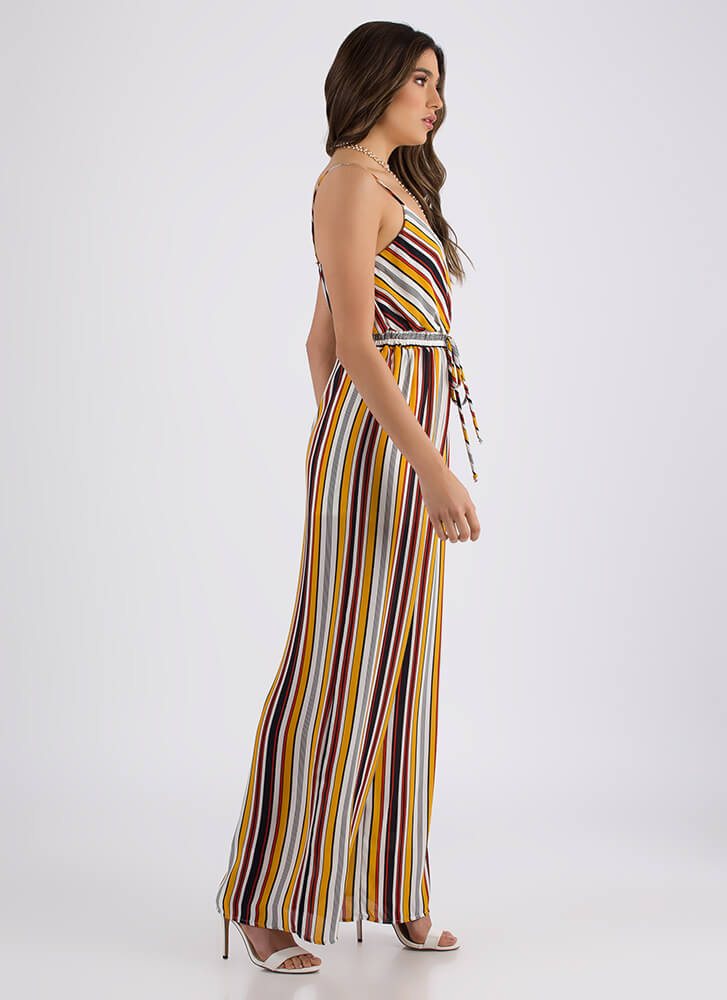 Down The Line Striped Palazzo Jumpsuit MUSTARD (Final Sale)