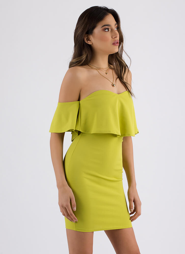 Sweetheart Tiered Off-Shoulder Dress LIME