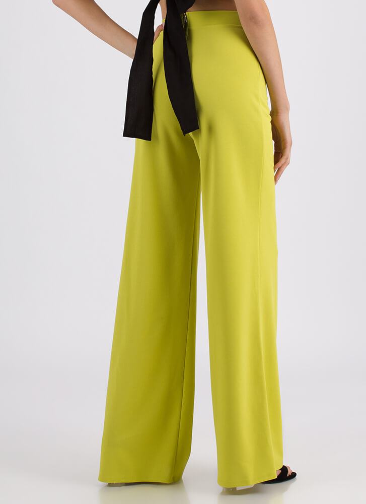 Chic Up High-Waisted Palazzo Pants LIME (You Saved $19)