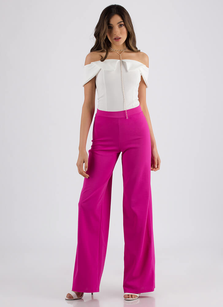 Chic Up High-Waisted Palazzo Pants NEONPINK