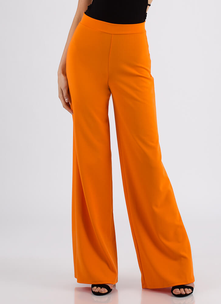 Chic Up High-Waisted Palazzo Pants ORANGE (You Saved $19)