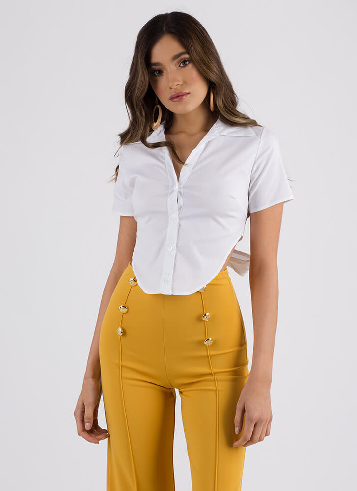 Highs And Lows Tie-Back Button-Up Top WHITE