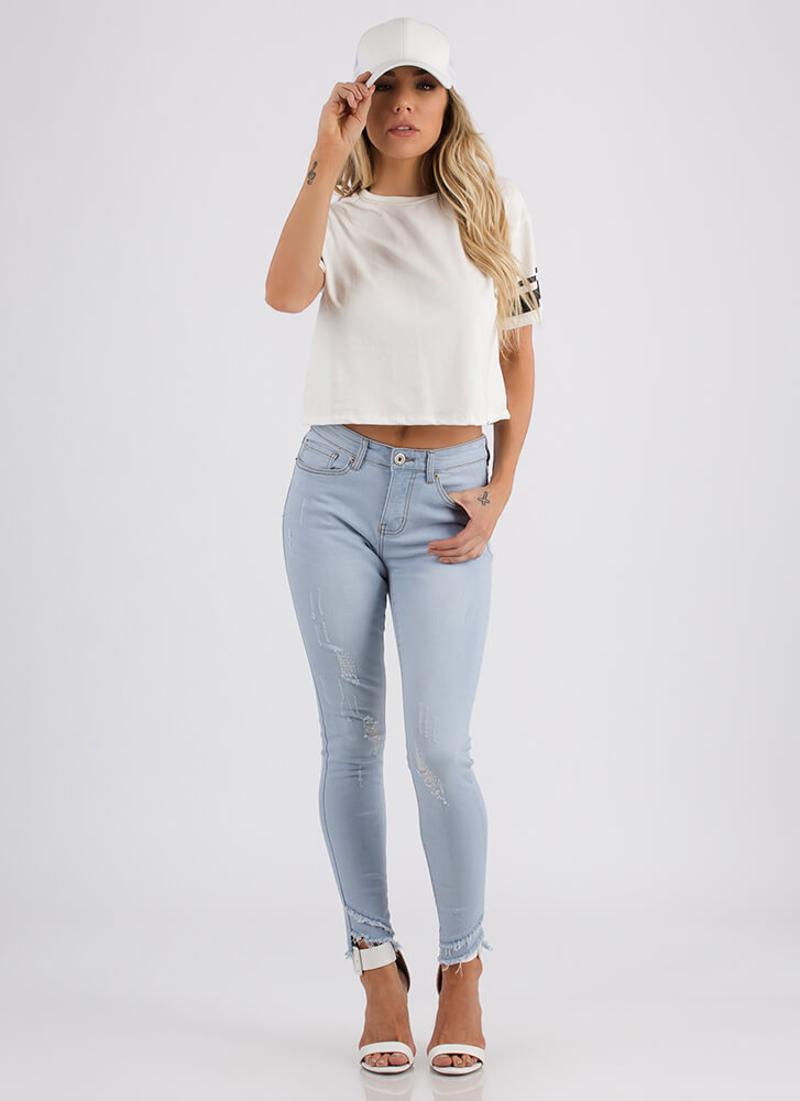 Jersey Sure Sporty Striped Crop Top WHITE