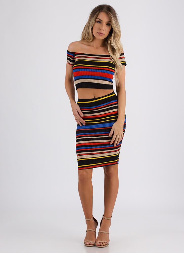 Inside The Lines Striped Two-Piece Dress MULTI