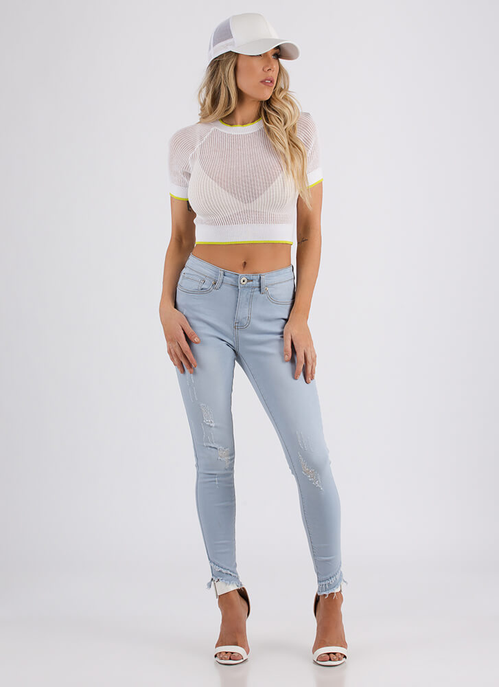 Fit And Trim Semi-Sheer Knit Crop Top WHITE