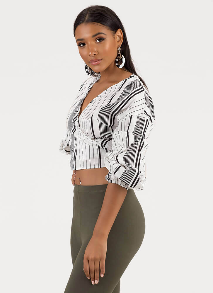 Guide Lines Striped Wrapped Crop Top BLACK