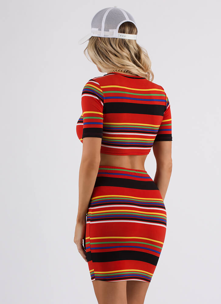 Seriously Striped Crop Top And Skirt Set RED