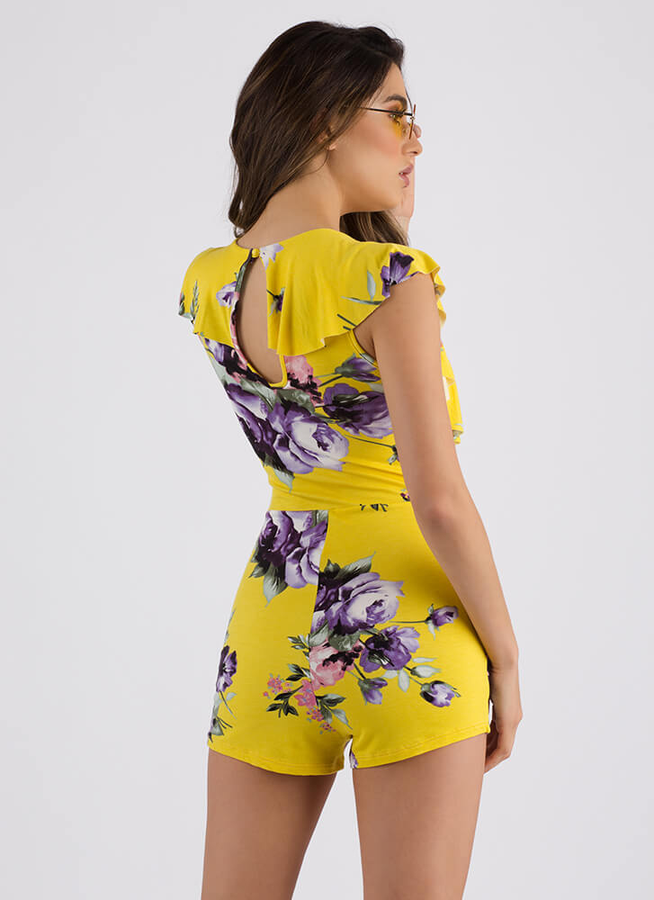 Flowery Scent Plunging Ruffled Romper YELLOW