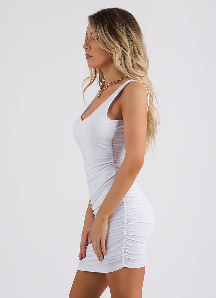 Tanks For Everything Ruched Minidress WHITE