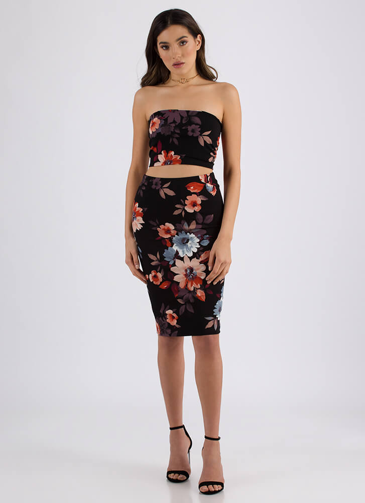 Laced With Flowers Top And Skirt Set BLACK