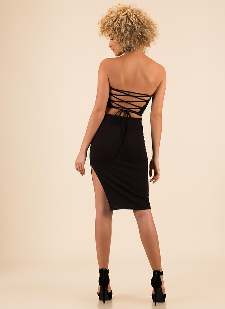 Lace-Back In The Game Top And Skirt Set BLACK