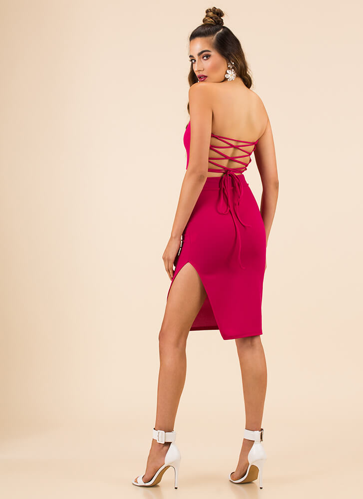 Lace-Back In The Game Top And Skirt Set FUCHSIA