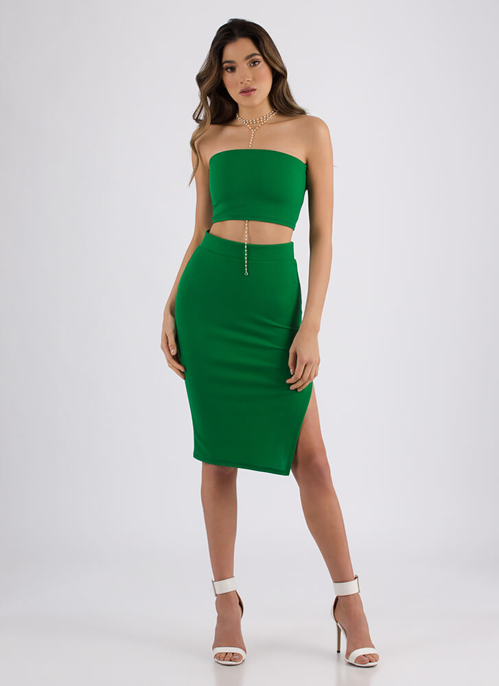 Lace-Back In The Game Top And Skirt Set KELLYGREEN