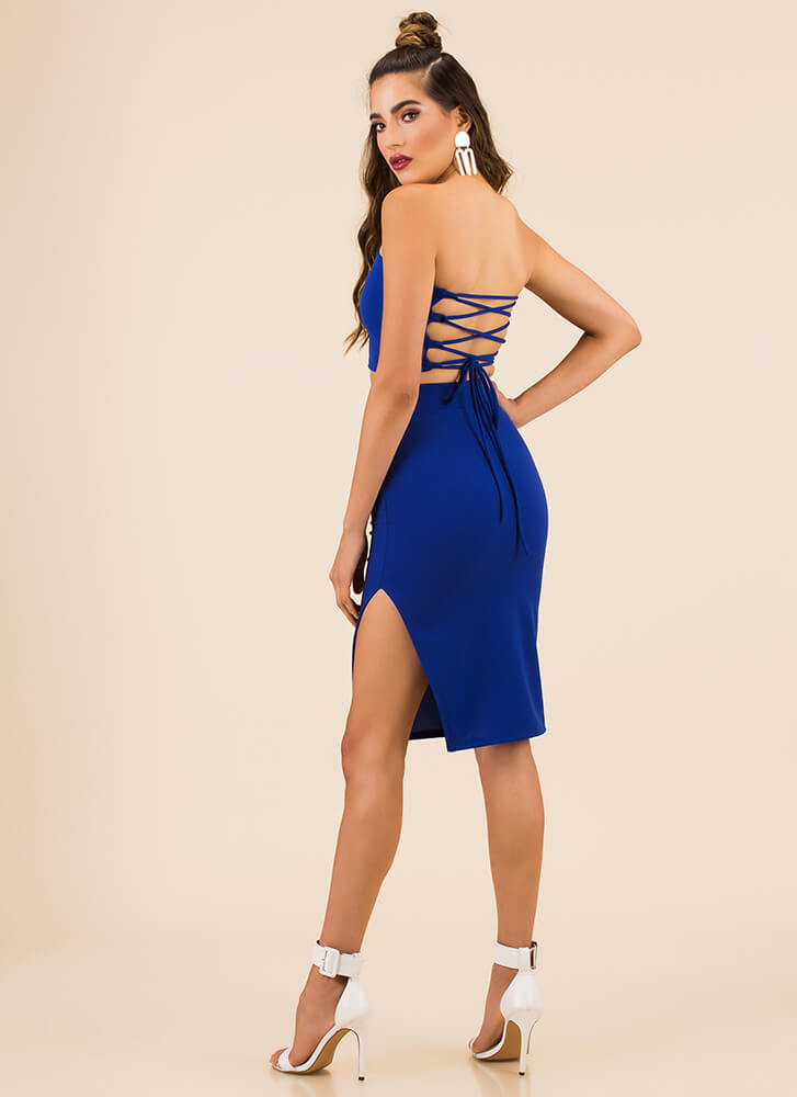 Lace-Back In The Game Top And Skirt Set ROYAL