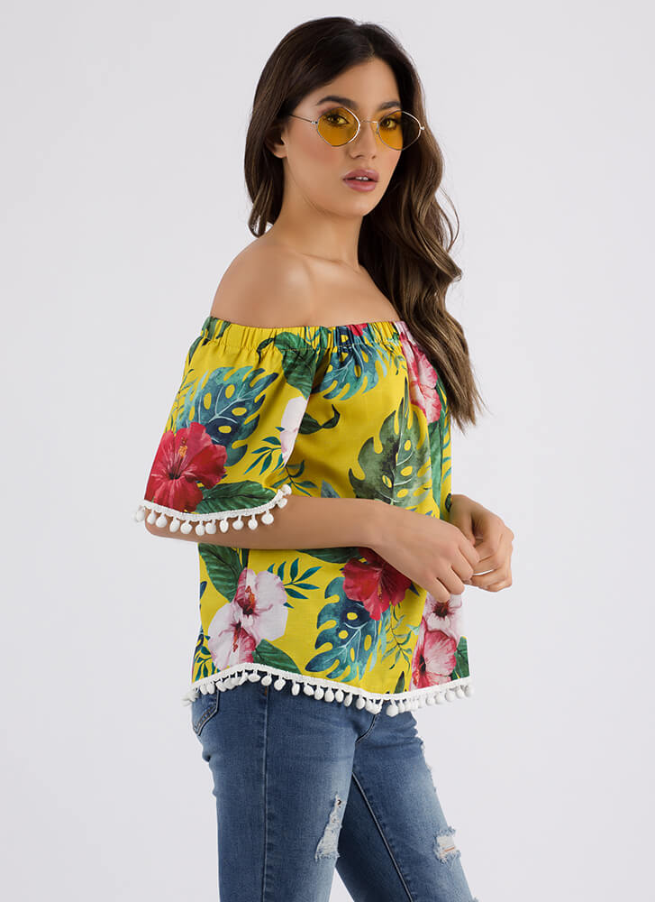 Tropical Poms Floral Off-Shoulder Top YELLOW