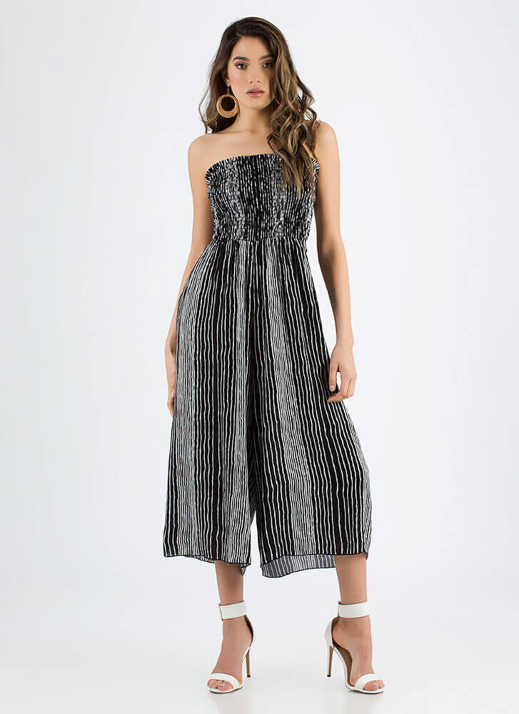 Starting Line Strapless Palazzo Jumpsuit BLACK