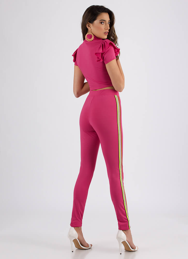 Zip It Ruffled Striped Top And Pant Set FUCHSIA