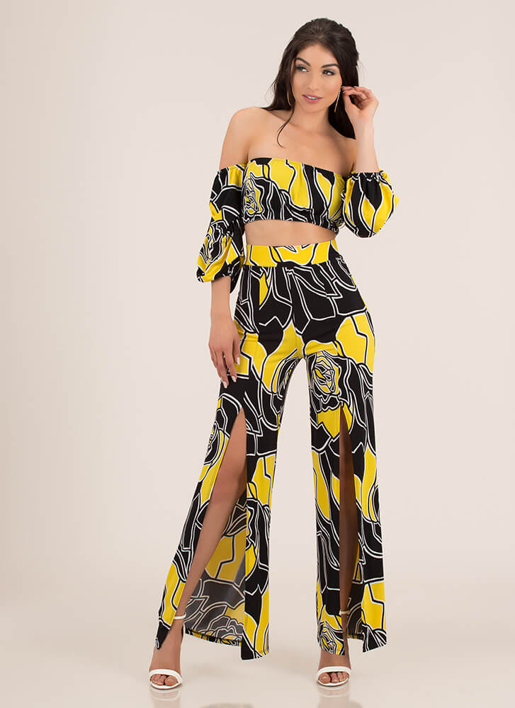 Rose Up Off-Shoulder Top And Pant Set YELLOW
