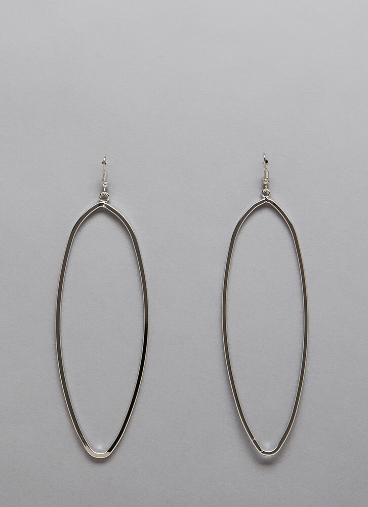 Oval And Oval Again Long Ring Earrings SILVER