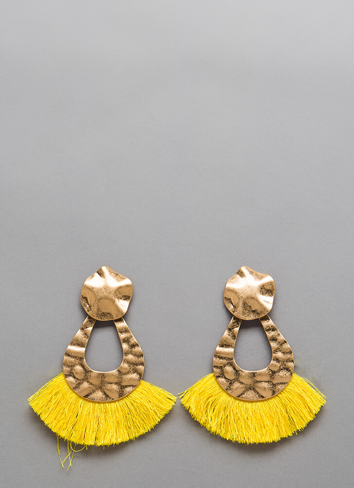 Hammer Time Cut-Out Fringe Earrings YELLOW