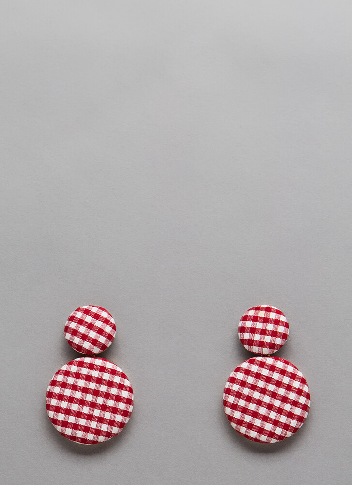 Cute As A Button Gingham Print Earrings RED (Final Sale)