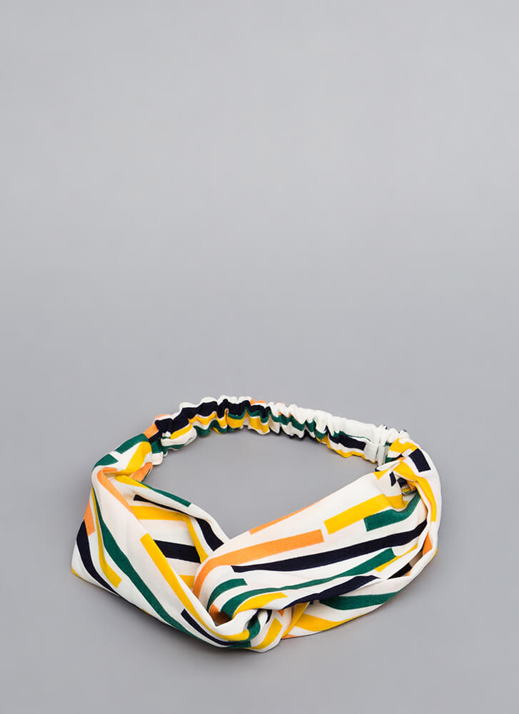 Abstract Thought Striped Looped Headband WHITEMULTI