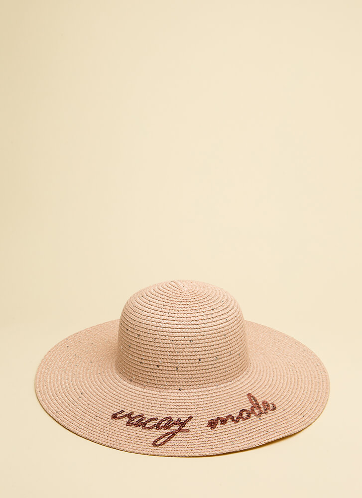 Vacay Mode Sequined Sun Hat BLUSH