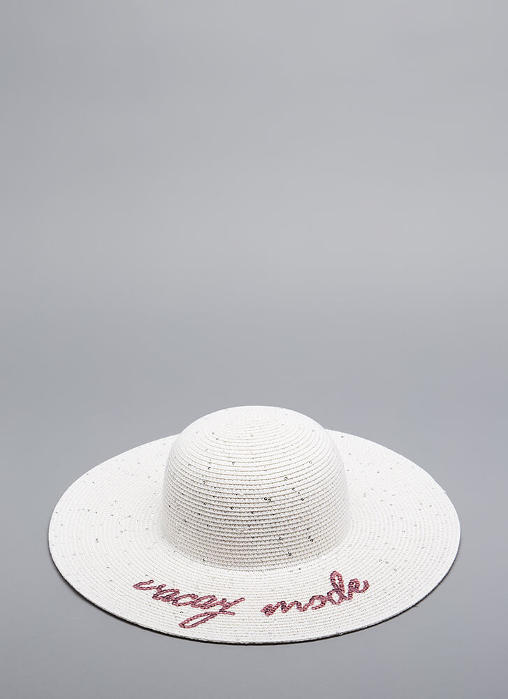 Vacay Mode Sequined Sun Hat WHITE