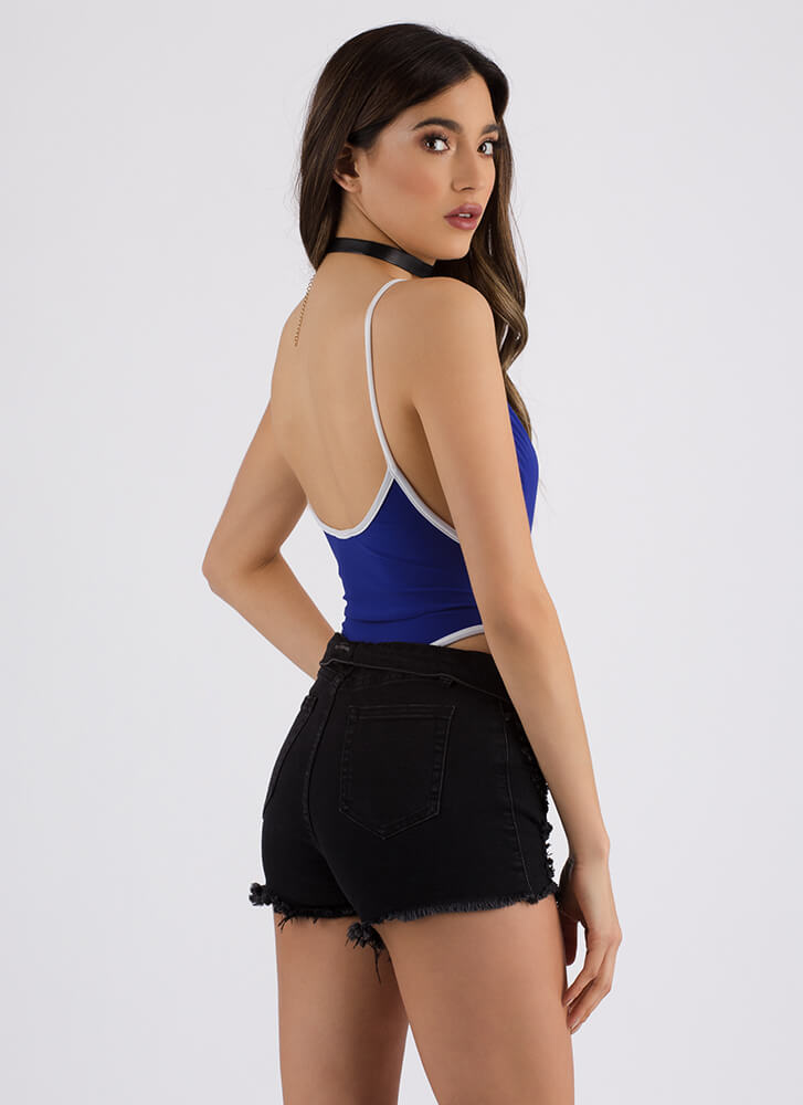 Piping Hot High-Cut Thong Bodysuit ROYAL