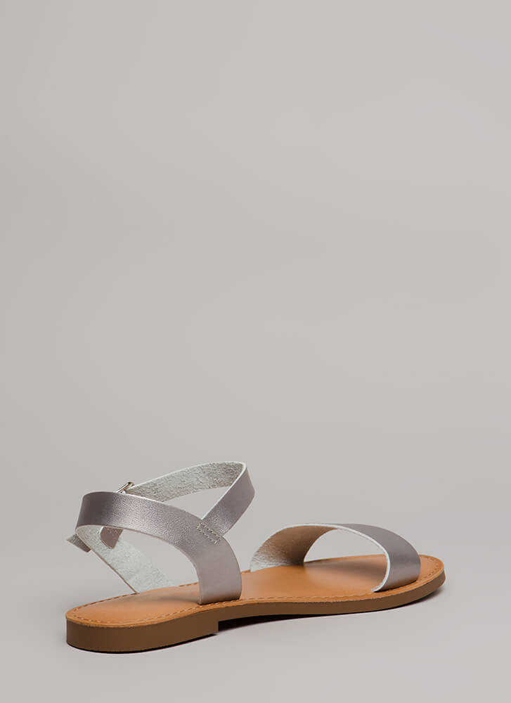 Walk In The Park Shiny Strappy Sandals SILVER (Final Sale)