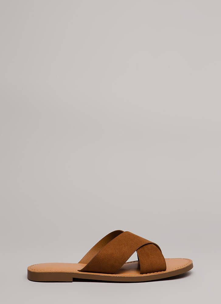 X-Girlfriend Faux Suede Slide Sandals COGNAC