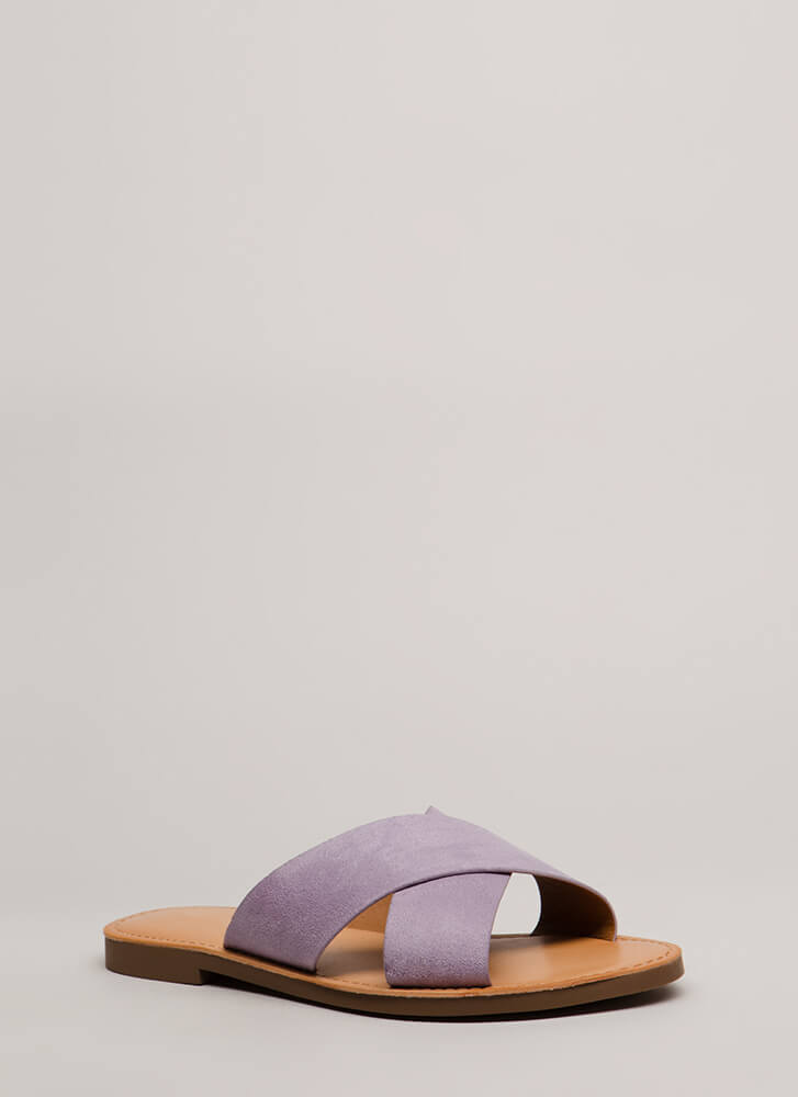 X-Girlfriend Faux Suede Slide Sandals LILAC