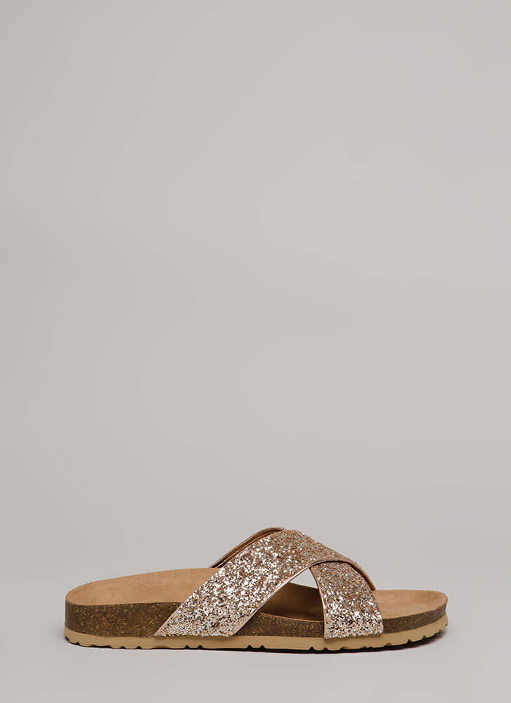 Back With My X Glittery Slide Sandals ROSEGOLD