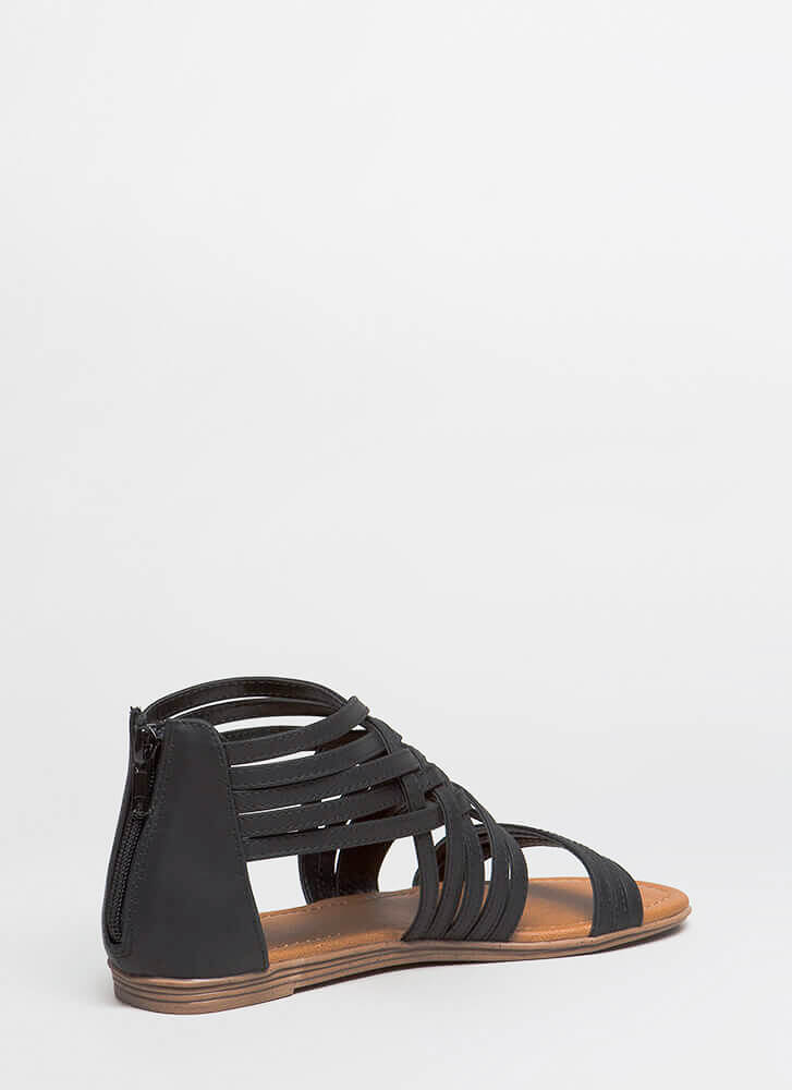 Seeing Is Be-Weaving Strappy Sandals BLACK