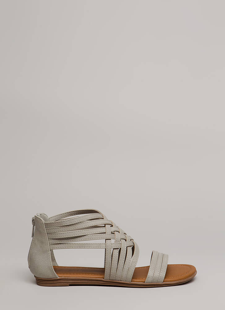 Seeing Is Be-Weaving Strappy Sandals LTGREY