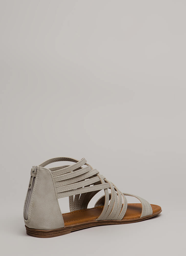 Seeing Is Be-Weaving Strappy Sandals LTGREY (You Saved $14)