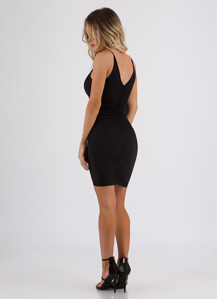 Shirr Of Yourself Ruched Minidress BLACK