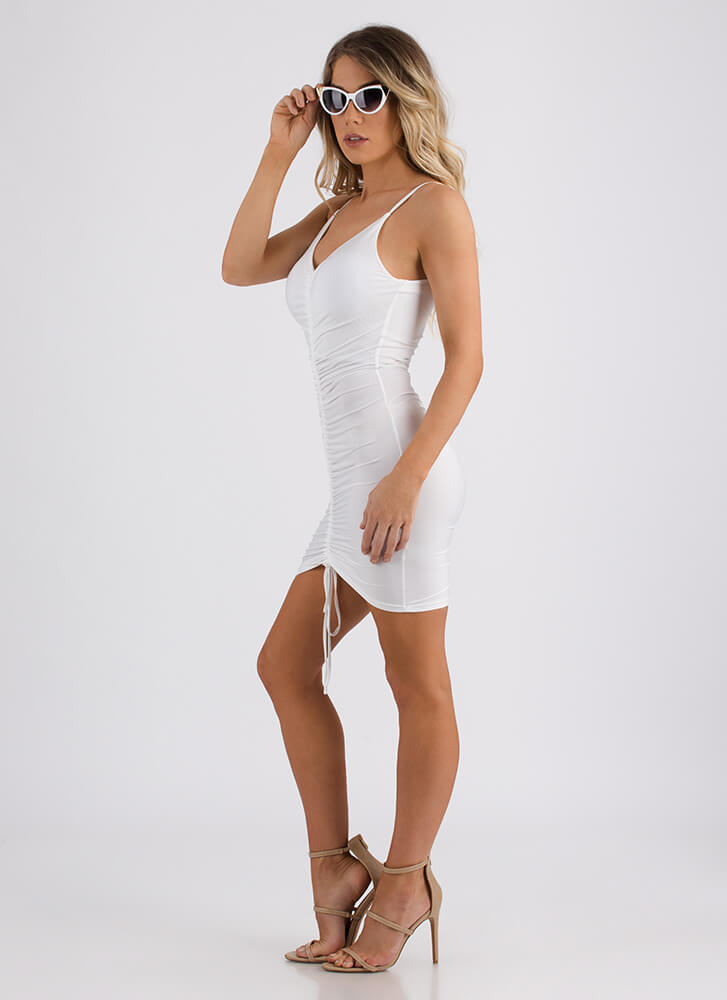 Shirr Of Yourself Ruched Minidress WHITE