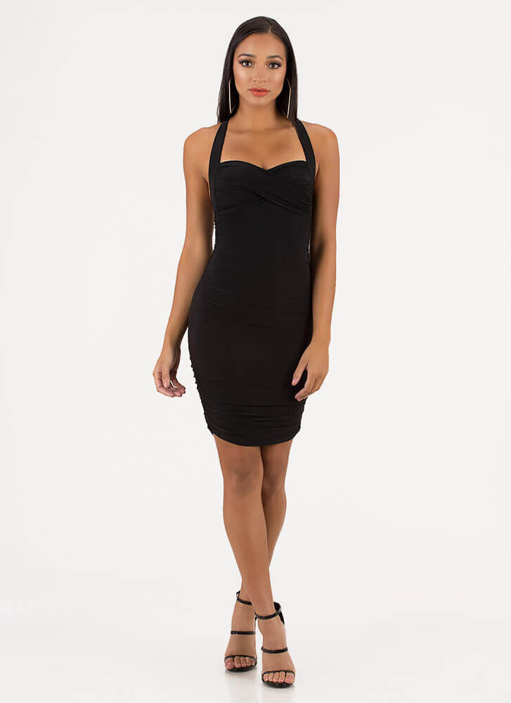 Wrapped And Ruched Sweetheart Dress BLACK