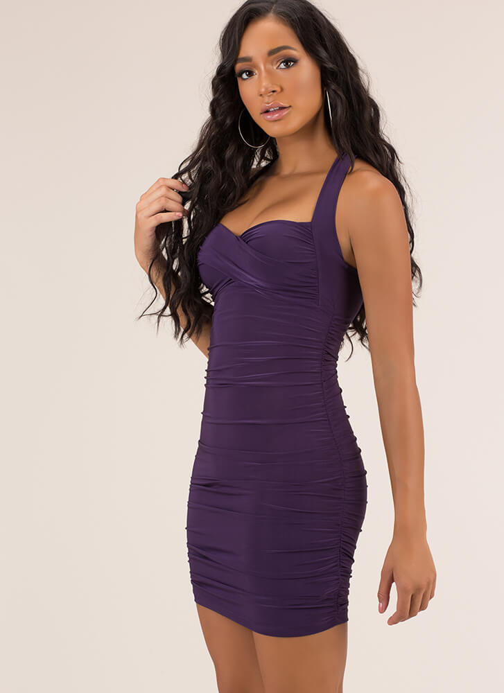 Wrapped And Ruched Sweetheart Dress EGGPLANT