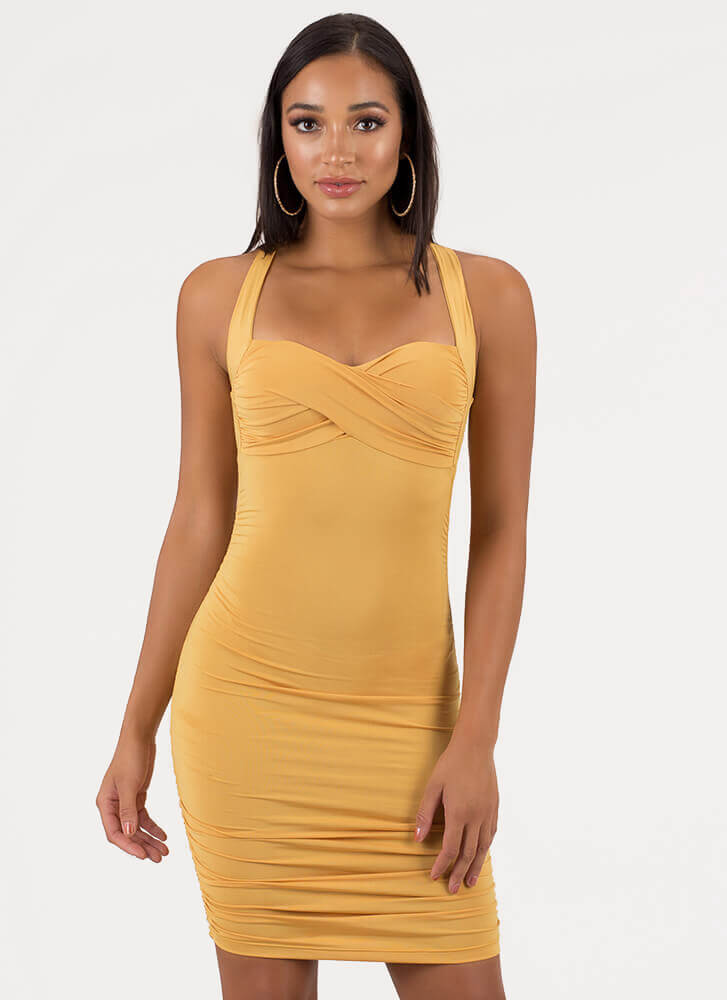 Wrapped And Ruched Sweetheart Dress MUSTARD