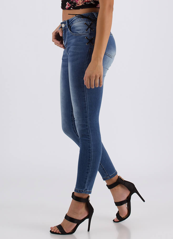 Back To Laces Lace-Up Skinny Jeans MEDBLUE